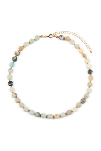 S6-5-2-AHDN2464POM AMAZONITE 8mm NATURAL STONE NECKLACE/6PCS