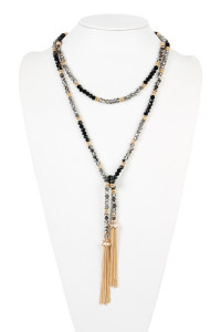 S7-5-2-AHDN2488BK - TWO TONE GLASS BEADS LONG NECKLACE - BLACK/6PCS