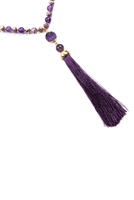 SA3-3-4-AHDN2492AM VIOLET TASSEL NATURAL STONE NECKLACE/6PCS