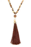 S4-5-2-AHDN2492LCT JASPER BROWN TASSEL NATURAL STONE NECKLACE/6PCS