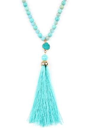 S7-5-3-AHDN2492TQ TURQUOISE TASSEL NATURAL STONE NECKLACE/6PCS