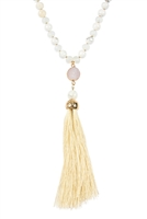 S7-5-2-AHDN2492WH WHITE TASSEL NATURAL STONE NECKLACE/6PCS