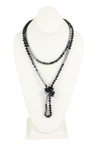 S20-10-1-AHDN2496BK BLACK TWO LINE GLASS BEADS NECKLACE/6PCS