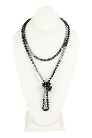S4-5-3-AHDN2496BK BLACK TWO LINE GLASS BEADS NECKLACE/6PCS