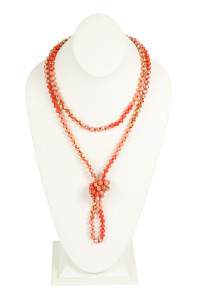 S25-8-1-AHDN2496CO CORAL TWO LINE GLASS BEADS NECKLACE/6PCS