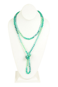 S18-6-2-AHDN2496GR GREEN TWO LINE GLASS BEADS NECKLACE/6PCS