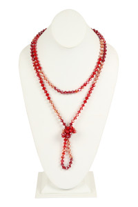 S25-8-1-AHDN2496RD RED TWO LINE GLASS BEADS NECKLACE/6PCS