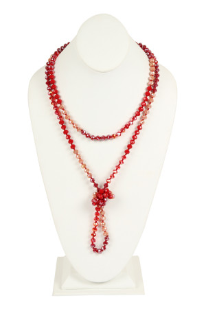 SA4-3-1-AHDN2496RD RED TWO LINE GLASS BEADS NECKLACE/6PCS