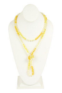 SA3-3-2-AHDN2496YW YELLOW TWO LINE GLASS BEADS NECKLACE/6PCS