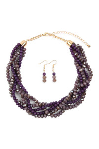 SA4-3-3-AHDN2552AM DARK PURPLE  4 LINES BRAIDED GLASS BEADS NECKLACE AND EARRING SET/6SETS