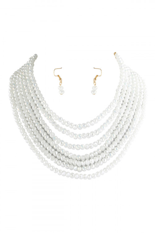A1-2-1-AHDN2636WT WHITE 7 LINES LAYERED GLASS BEADS NECKLACE WITH EARRING SET/6SETS