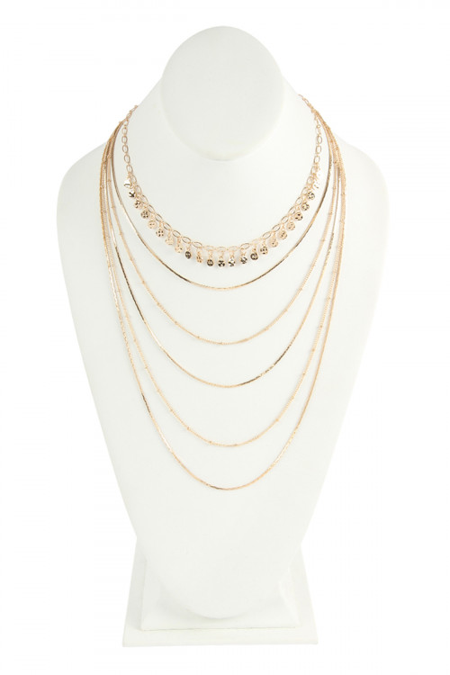 S24-7-2-AHDN2640G GOLD DELICATE LAYER NECKALCES/6PCS