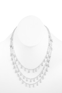 S17-1-2-HDN2645R SILVER 3 LAYERED SMALL CHAIN NECKLACE/6PCS