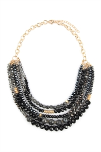 A2-3-4-AHDN2741BK BLACK MIXED BEADS STATEMENT NECKLACE/6PCS