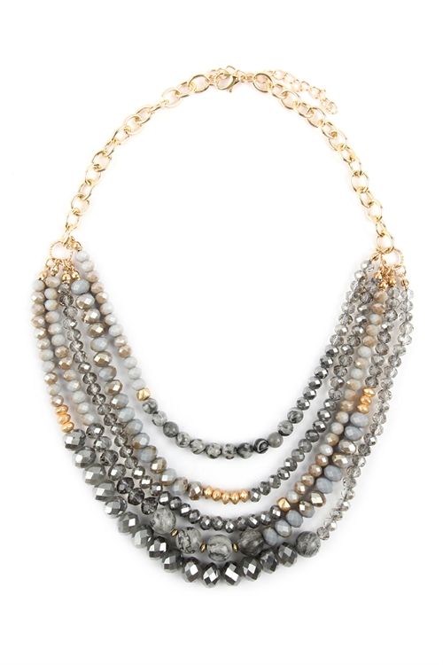 A1-3-2-AHDN2741GY GRAY MIXED BEADS STATEMENT NECKLACE/6PCS