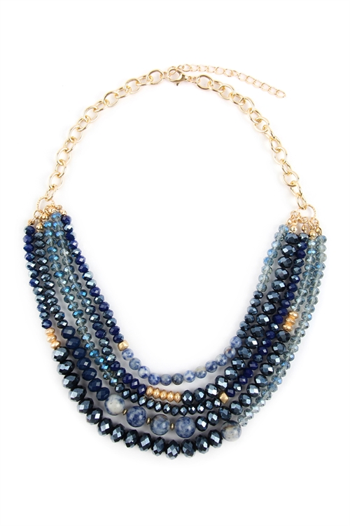 A1-3-3-AHDN2741NV NAVY MIXED BEADS STATEMENT NECKLACE/6PCS
