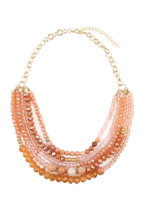 A1-3-2-AHDN2741PK PINK MIXED BEADS STATEMENT NECKLACE/6PCS