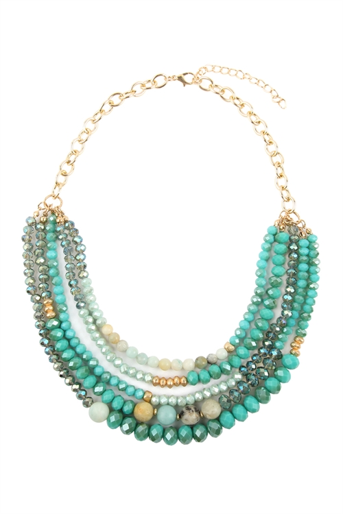 A1-3-2-AHDN2741POM AMAZONITE MIXED BEADS STATEMENT NECKLACE/6PCS