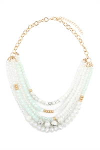 A1-3-3-AHDN2741WT WHITE MIXED BEADS STATEMENT NECKLACE/6PCS