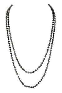A1-1-3-AHDN2746BK BLACK 6mm TWO LINES MIXED BEADS NECKLACE/6PCS
