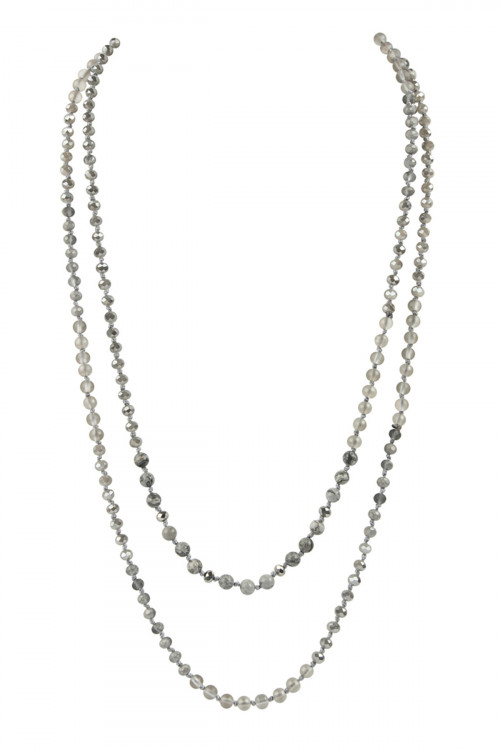 A1-1-3-AHDN2746GY GRAY 6mm TWO LINES MIXED BEADS NECKLACE/6PCS