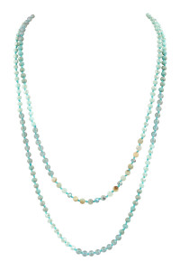 A1-1-3-AHDN2746POM AMAZONITE 6mm TWO LINES MIXED BEADS NECKLACE/6PCS