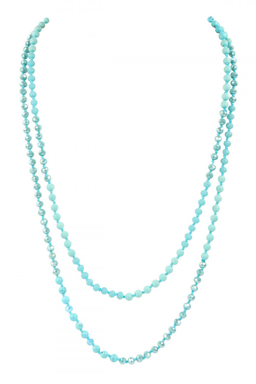 A1-1-3-AHDN2746TQ TURQUOISE 6mm TWO LINES MIXED BEADS NECKLACE/6PCS