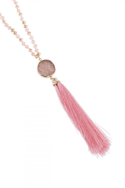 A2-2-4-AHDN2747PK PINK STONE CHARM WITH TASSEL NECKLACE/6PCS
