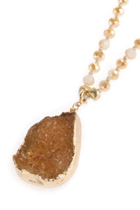 SA3-3-1-AHDN2749LBR LIGHT BROWN DRUZY STONE PENDANT WITH GLASS BEADED NECKLACE/6PCS