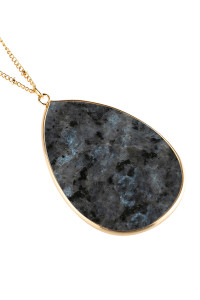 A2-2-4-AHDN2751BK BLACK OVAL STONE PENDANT NECKLACE/6PCS