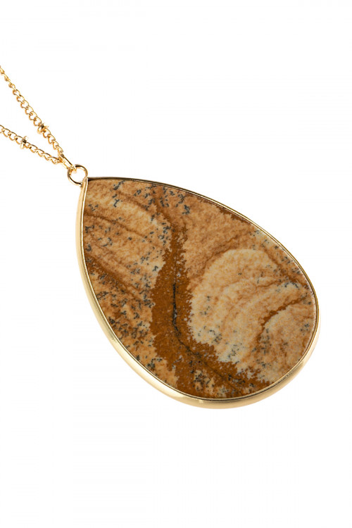 A2-2-4-AHDN2751LCT LIGHT BROWN OVAL STONE PENDANT NECKLACE/6PCS