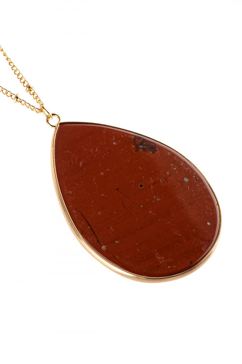 A3-2-3-AHDN2751RD RED OVAL STONE PENDANT NECKLACE/6PCS