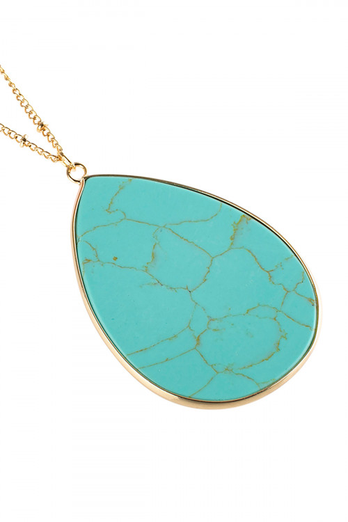 A2-2-4-AHDN2751TQ TURQUOISE OVAL STONE PENDANT NECKLACE/6PCS