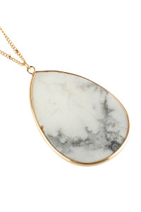 A3-2-3-AHDN2751WT WHITE OVAL STONE PENDANT NECKLACE/6PCS