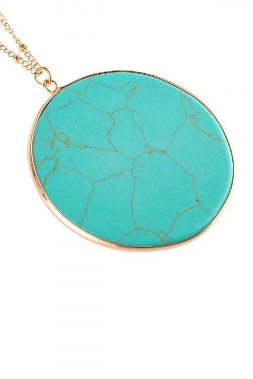 A2-3-3-AHDN2752TQ TURQUOISE CIRCLE STONE PENDANT NECKLACE/6PCS