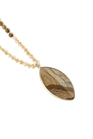 S7-5-1-AHDN2753LCT LIGHT BROWN MARQUISE STONE PENDANT NECKLACE/6PCS