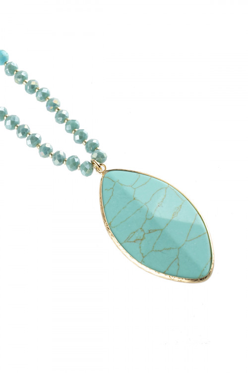 A1-1-1-AHDN2753TQ TURQUOISE MARQUISE STONE PENDANT NECKLACE/6PCS
