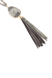 S6-5-1-AHDN2755GY GRAY NATURAL STONE WITH TASSEL PENDANT NECKLACE/6PCS