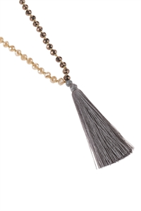 A2-1-2-AHDN2783GY GRAY FRINGE TASSEL PENDANT WITH GLASS BEADS NECKLACE/6PCS