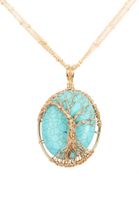 S5-6-1-AHDN2874TQ TURQUOISE SEMI STONE WRAP WRAPPED PENDANT NECKLACE/6PCS