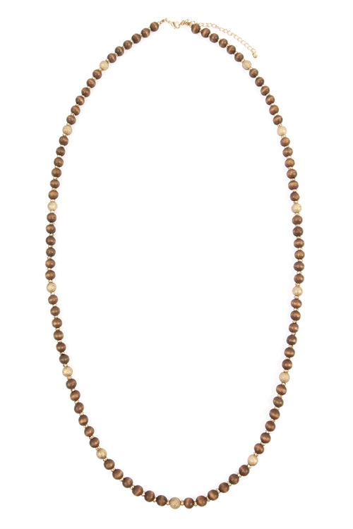A2-2-1-AHDN2880BR BROWN WOOD BEAD NECKLACE/6PCS