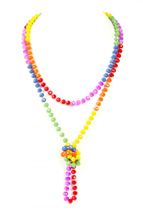 A2-2-1-AHDN2882 RAINBOW HAND KNOTTED RONDELLE BEADS NECKLACE /6PCS