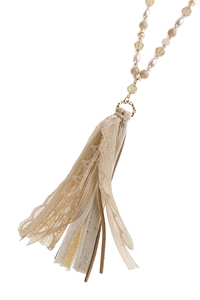 S2-5-1-AHDN2946 BEIGE BEADED TASSEL NECKLACE/6PCS