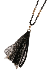 S2-5-1-AHDN2947BK BLACK TASSEL NECKLACE/6PCS