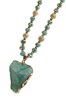 S2-5-1-AHDN2952TQ TURQUOISE STONE PENDANT BEADED NECKLACE/6PCS