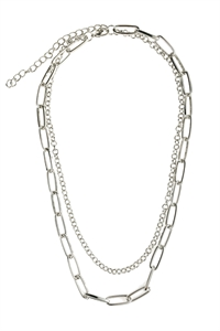 S5-4-1-AHDN2973R SILVER MULTILINE CHAIN NECKLACE/6PCS