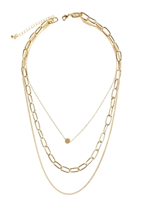 S6-5-5-AHDN2974G GOLD LAYERED CHAIN NECKLACE/6PCS