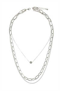 S6-5-5-AHDN2974R SILVER LAYERED CHAIN NECKLACE/6PCS
