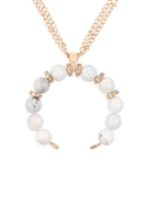 S20-3-4-HDN3105WT-BEADED CRESCENT PENDANT NECKLACE-WHITE/6PCS