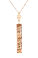 S20-5-3-HDN3116LCT-BROWN BAR NATURAL STONE PENDANT CHAIN NECKLACE/6PCS